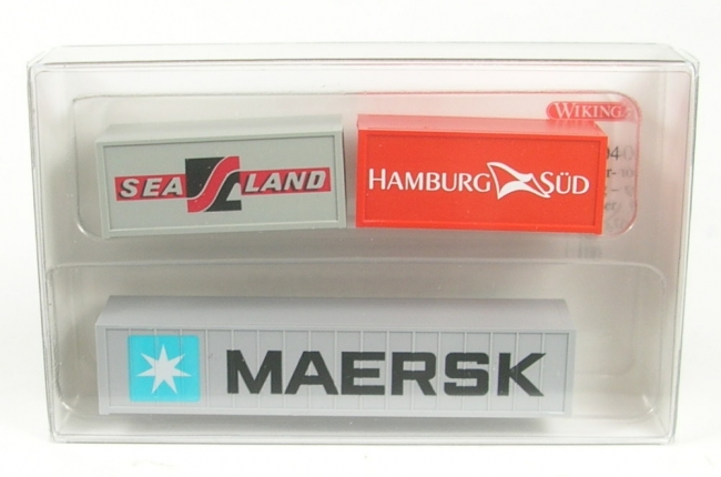 Set - Container 1x 40' Maersk -  2x 20' Hamburg Süd und Sealand  1:160 Wiking